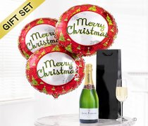 Merry Christmas Balloon and Champagne Gift Set Code: JGFX82491CB