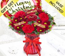 Merry Christmas Wish Vase With a Red Christmas Round Helium Balloon Code: JGFX90047CWB | Local Delivery Or Collect From Shop Only
