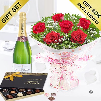 Six Hug's and Kisses with Champagne and Luxury Belgian Chocolates Code: JGFV60036RCC  | Local Delivery Or Collect From Shop Only