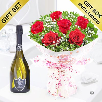 Six Hug's and Kisses with a bottle of bubbly Prosecco Code: JGFV60036RRP | Local Delivery Or Collect From Shop Only