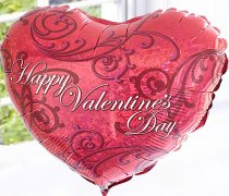Happy Valentines Day Helium Heart Balloon Code: V41311ZF