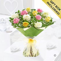 Amore Mixed Dozen Rose Hand-tied Code: JGFV401791MR | Local Delivery Or Collect From Shop Only