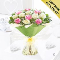 Heavenly Mixed Pink and White Rose Hand-tied with White Gypsophila Code: JGFV7641PWR  | Local Delivery Or Collect From Shop Only