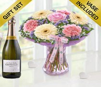 Mother's Day Flower Perfect Gift with a delicious bottle of bubbly Prosecco Code: JGFM50021MS-P ( Local Delivery Or Collection Only )