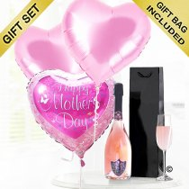 Mother's Day CelebrationSparkling Rosé Wine With Happy Mothers Day Balloon's and Luxury Chocolates Gift Set Code: M502410ZSC