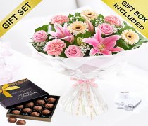 Mother's Day Flower Hand-tied with a Luxury Box of Milk Chocolate Truffles Code: JGFM5009MH-CT ( Local Delivery Or Collection Only )