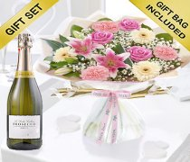 Mother's Day Flower Hand-tied with a delicious bottle of bubbly Prosecco Code: JGFM5009MHPR ( Local Delivery Or Collection Only )