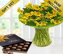 Spring Sol d'or Perfect Gift Vase Arrangement with a Box of Luxury Milk Chocolate Truffles Code: JGFSP24578SLCT (Local Delivery Only)