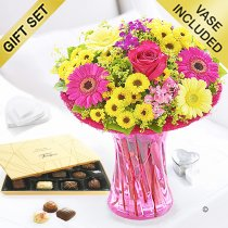 Summer Vibrant Vase with a Box of Luxury Chocolates Code: JGFS908892SC | Local Delivery Or Collect From Shop Only