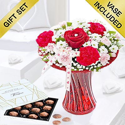 Red Love Vase with Luxury Milk Chocolate Truffles Code: JGFV4041VCT  | Local Delivery Or Collect From Shop Only