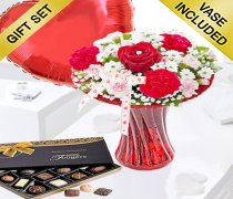 Red Love Vase with Luxury Chocolates and a Fun filled Helium Plain Red Heart Balloon Code: JGFV4048PHBC  | Local Delivery Or Collect From Shop Only