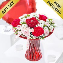 Red Love Vase With A Fun Filled Helium Plain Red Heart Balloon Code: JGFV4047PHBC  | Local Delivery Or Collect From Shop Only