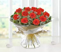 Heavenly Orange Rose Hand-tied with White Gypsophila Code JGF14357OH | Local Delivery Or Collect From Shop Only