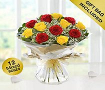 Heavenly Mixed Red and Yellow Rose Hand-tied with White Gypsophila Code JGF14457RYH | Local Delivery Or Collect From Shop Only