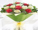 Heavenly Mixed Red and White Rose Hand-tied with White Gypsophila Code JGF14467RWH  | Local Delivery Or Collect From Shop Only