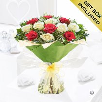 Heavenly Mixed Red and White Rose Hand-tied with White Gypsophila Code JGF14467RWH  Local Delivery Only