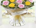 Heavenly Mixed Pink and Yellow Rose Hand-tied with White Gypsophila Code JGF14487PYH  | Local Delivery Or Collect From Shop Only