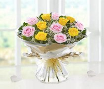 Heavenly Mixed Pink and Yellow Rose Hand-tied with White Gypsophila Code JGF14487PYH  Local Delivery Only