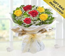 Six Stolen Kisses Red and Yellow Mixed Rose Hand-tied with White Gypsophila Code: JGF2716RYHS | Local Delivery Or Collect From Shop Only