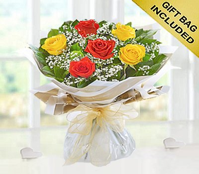 Six Stolen Kisses Orange and Yellow Mixed Rose Hand-tied with White Gypsophila Code: JGF2711OYHS  Local Delivery Only