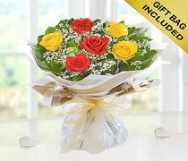 Six Stolen Kisses Orange and Yellow Mixed Rose Hand-tied with White Gypsophila Code: JGF2711OYHS  | Local Delivery Or Collect From Shop Only