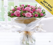 Pink Lisianthus and Pink Rose Hand-tied Code: C08991PS