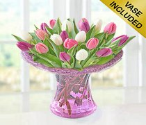 Mixed Pink and White Tulip Vase Code: JGFT58PWTV | Local Delivery Only