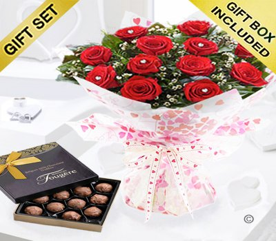 True Loves Desire 12 Red Rose Hand-tied With A Box Of Luxury Chocolate Truffles Code JGFR964RRWCT | Local Delivery Or Collect From Shop Only