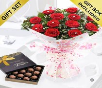 True Loves Desire 12 Red Rose Hand-tied With A Box Of Luxury Chocolate Truffles Code JGFV964RRWCT Local Delivery Only