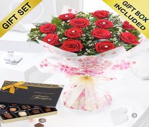 True Loves Desire 12 Red Rose Hand-tied With A Box Of Luxury Chocolates Code JGFV964RRWC Local Delivery Only
