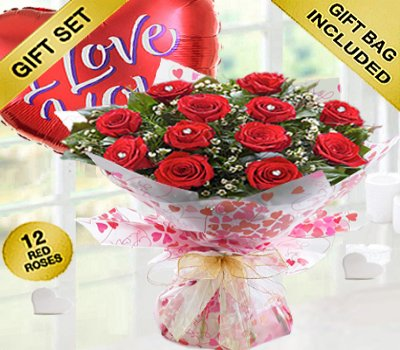True Loves Desire 12 Red Rose Hand-tied with a fun helium filled I Love You Balloon Code JGFV964RRWIB Local Delivery Only