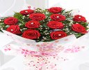 True Loves Desire 12 Red Rose Hand-tied with a fun helium filled Happy Valentines Day Balloon Code JGFV964RRWHDB Local Delivery Only