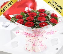 True Loves Desire 12 Red Rose Hand-tied with a Plain Red Heart Balloon Code JGFV964RRWRPB | Local Delivery Or Collect From Shop Only