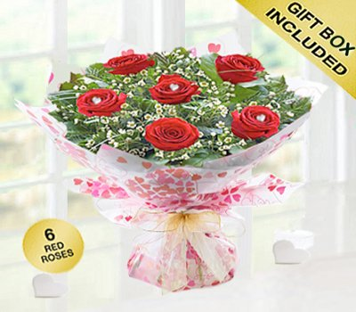 True Loves Desire 6 Red Rose Hand-tied Code JGFV966RRW | Local Delivery Or Collect From Shop Only