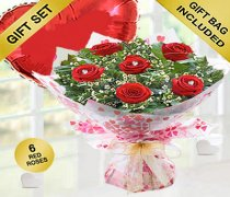 True Loves Desire 6 Red Rose Hand-tied with a fun helium filled Plain Red Heart Balloon Code JGFV966RRWPH Local Delivery Only