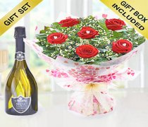 True Loves Desire 6 Red Rose Hand-tied with a Delicious Bottle Prosecco Code JGFV966RRWP  | Local Delivery Or Collect From Shop Only