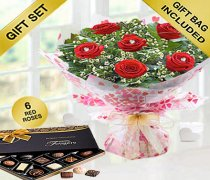 True Loves Desire 6 Red Rose Hand-tied With A Box Of Luxury Chocolates Code JGFV966RRWC | Local Delivery Or Collect From Shop Only