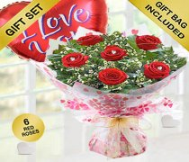 True Loves Desire 6 Red Rose Hand-tied with a fun helium filled I Love You Balloon Code JGFV966RRWIB  | Local Delivery Or Collect From Shop Only
