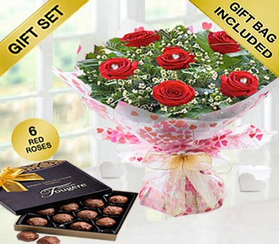 True Loves Desire 6 Red Rose Hand-tied With A Box Of Luxury Chocolate Truffles Code JGFV966RRWCT | Local Delivery Or Collect From Shop Only