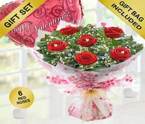 True Loves Desire 6 Red Rose Hand-tied with a fun helium filled Happy Valentines Day Balloon Code JGFV966RRWHDB  | Local Delivery Or Collect From Shop