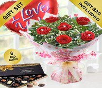 True Loves Desire 6 Red Rose Hand-tied With A Box Of Luxury Chocolates and a helium I Love You Balloon Code JGFV966RRWCLB | Local Delivery Only