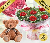 True Loves Desire 6 Red Rose Hand-tied with a Bertie Bear and a helium Happy Valentines Day Balloon Code JGFV966RRWHBB | Local Delivery Only
