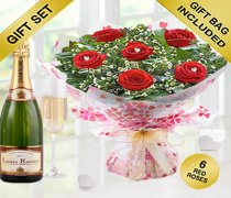 True Loves Desire 6 Red Rose Hand-tied with a delicious bottle of bubbly Champagne Code JGFV966RRWCP | Local Delivery Only