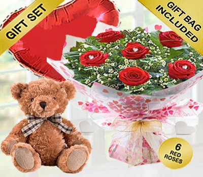True Loves Desire 6 Red Rose Hand-tied with a Bertie Bear and a helium Plain Red Heart Balloon Code JGFV966RRWPHBB | Local Delivery Only
