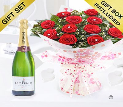 True Loves Desire 12 Red Rose Hand-tied with a delicious bottle of bubbly Champagne Code JGFV964RRWCP  | Local Delivery Or Collect From Shop Only