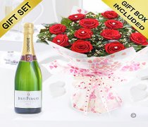 True Loves Desire 12 Red Rose Hand-tied with a delicious bottle of bubbly Champagne Code JGFV964RRWCP | Local Delivery Only