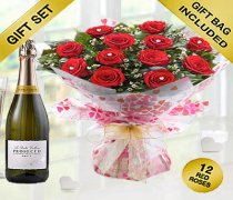 True Loves Desire 12 Red Rose Hand-tied with a Delicious Bottle Prosecco Code JGFV964RRWP Local Delivery Only
