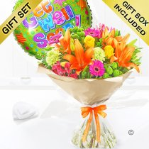 Get well vibrant hand tied with a fun helium get well balloon  Code: JGFG20381GVHB | Local Delivery Or Collect From Shop Only