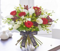 Luxury Red Rose and White Calla Lily Hand-tied Code: L20991MS