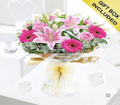 Pink Endearment Hand-tied Code:JGF0015300EH  | Local Delivery Or Collect From Shop Only